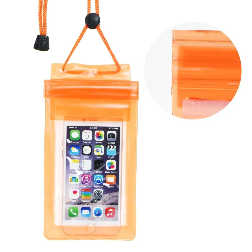 Pouzdro Forcell vodotěsné 153 x 83 mm na ruku se šňůrkou na krk - Oranžová