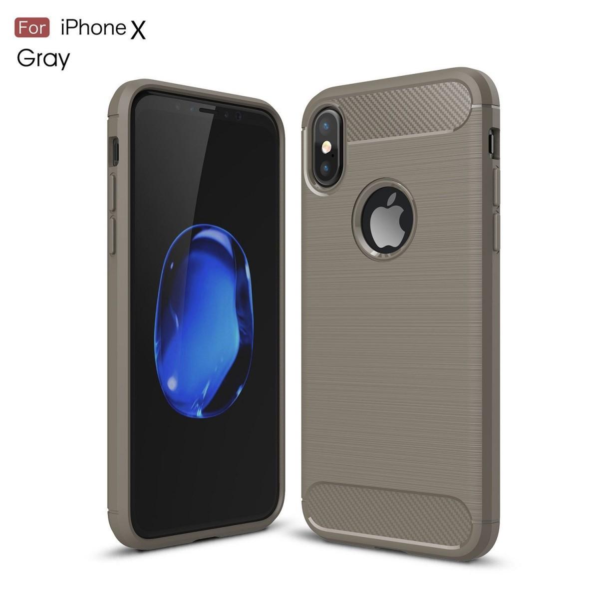 Stylový obal / kryt Carbon Armor pro iPhone Xs/X - Šedý