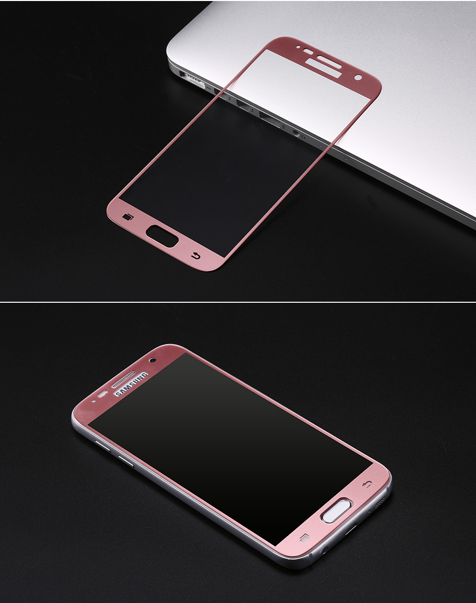 Tvrzené sklo FullCover pro Samsung Galaxy S7 (černé) - Růžové (rose)