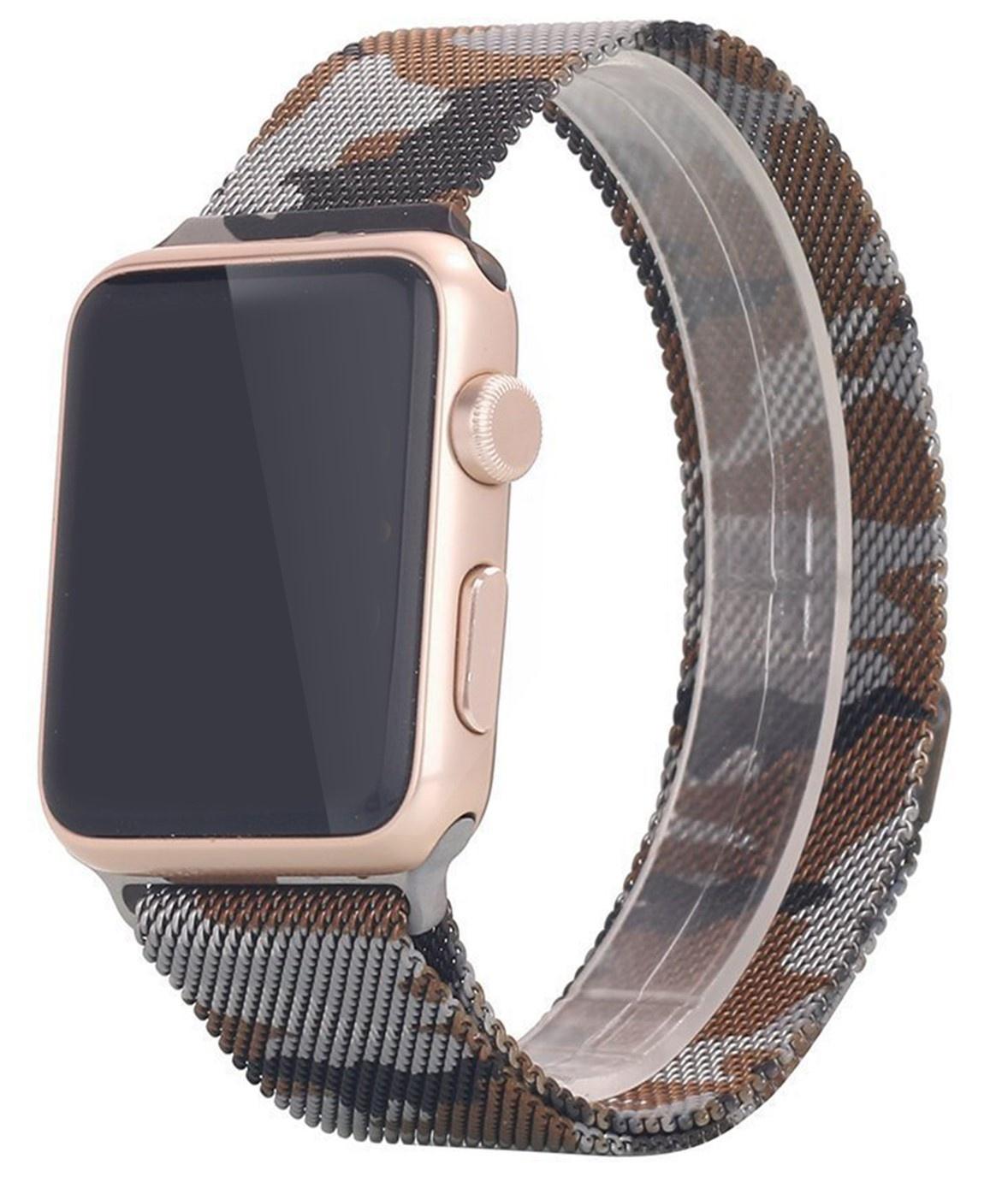 Řemínek MILANESE LOOP pro Apple Watch Series 3/2/1 38mm - Hnědá kamufláž