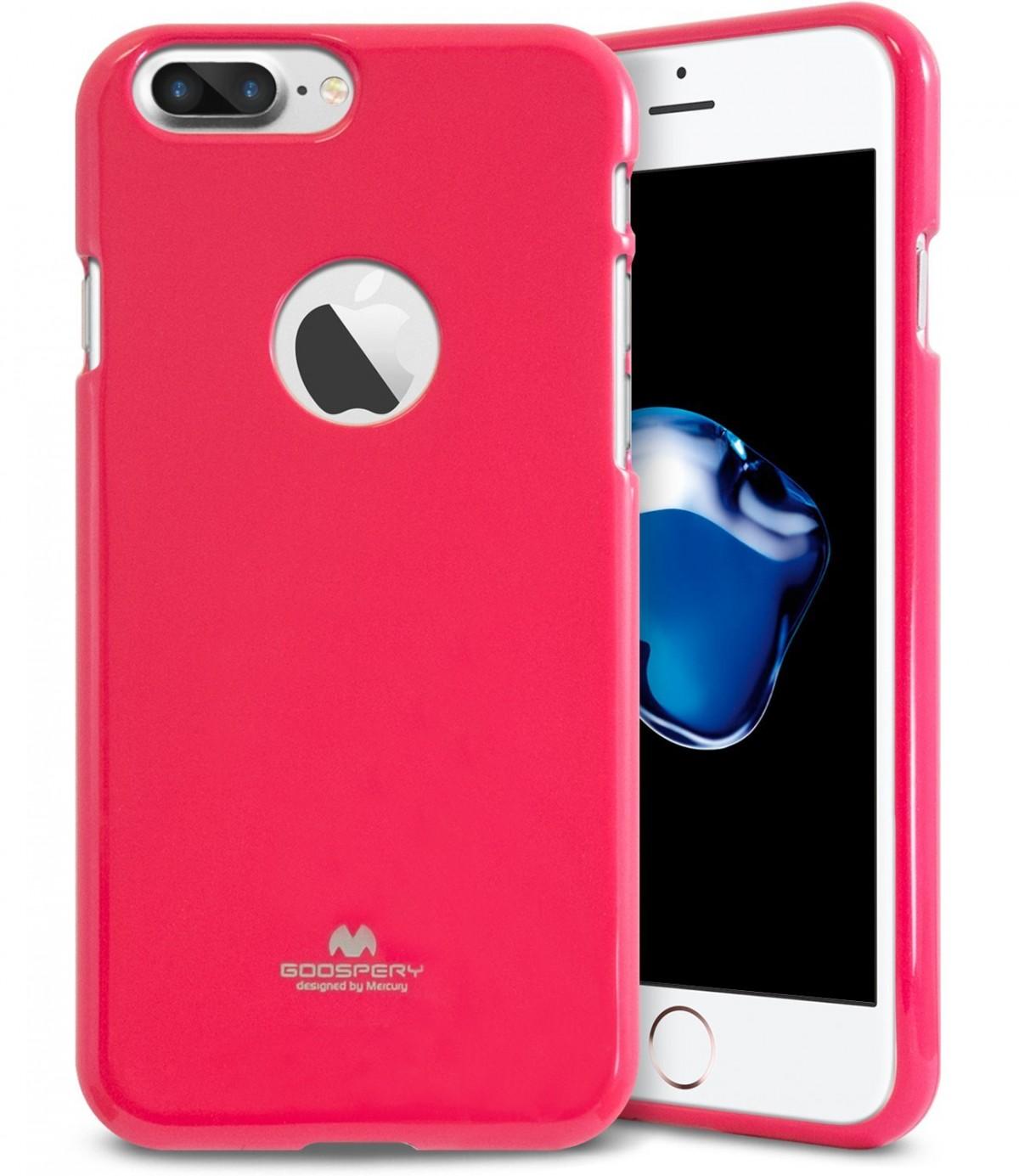 Pouzdro Goospery Mercury Jelly Case Apple iPhone 8 Plus / 7 Plus - Tmavě růžové / Hot růžové