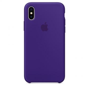 Originální silikonový kryt Apple iPhone X - Tmavě fialový