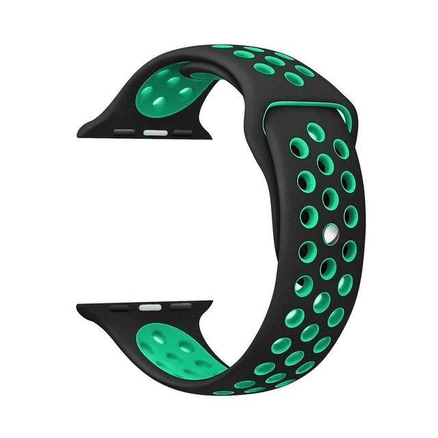 Řemínek SPORT pro Apple Watch Series 3/2/1 42mm - Černý/Tyrkysově zelený