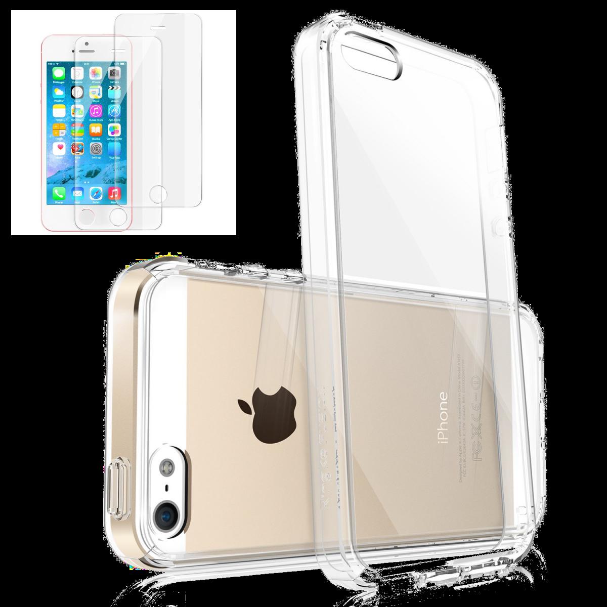 Průhledný kryt Ultra Slim Hybrid na iPhone SE / 5s / 5 +2ks fólií