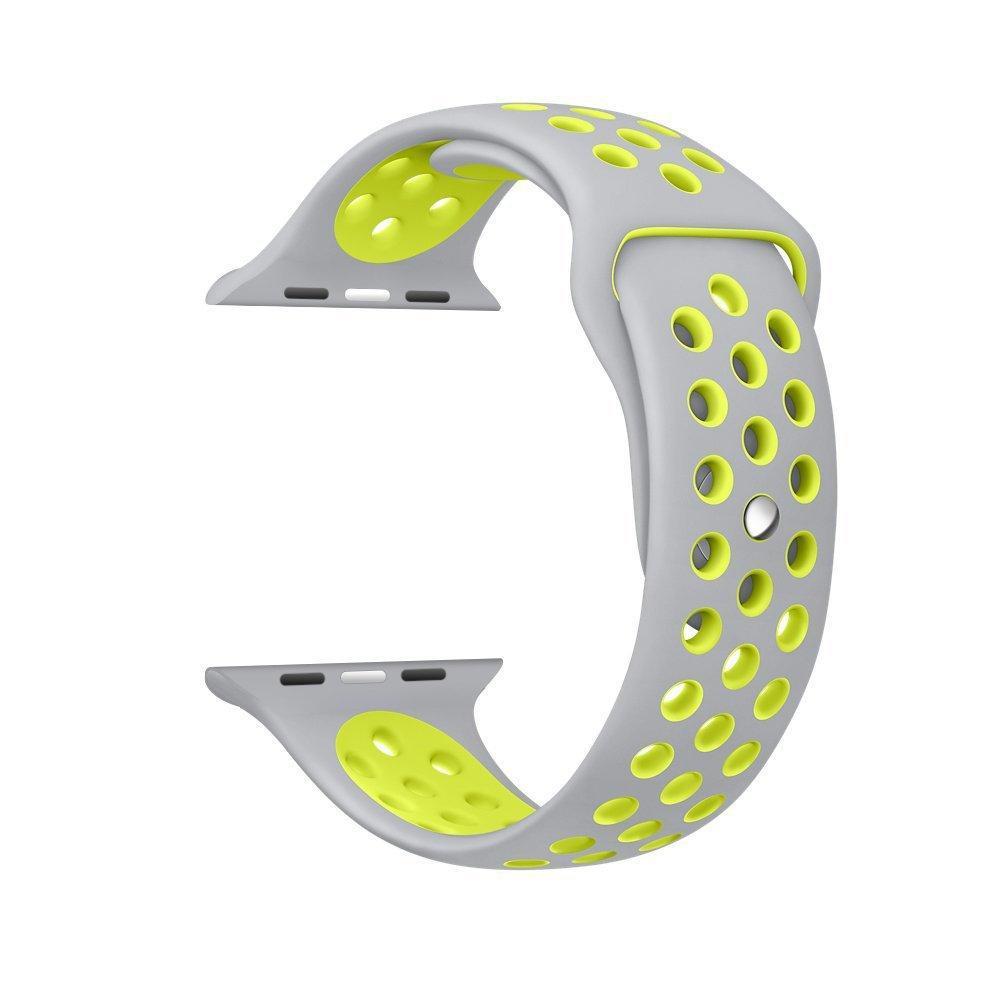 Řemínek SPORT pro Apple Watch Series 3/2/1 38mm - Šedý/Neonově žlutý