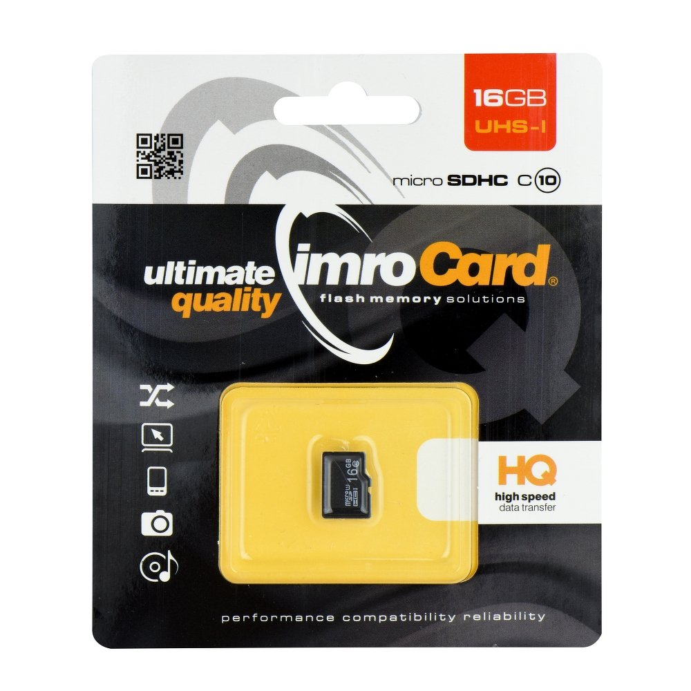 IMRO microSDHC 16GB Class 10 + adaptér IMROUHS1016GB