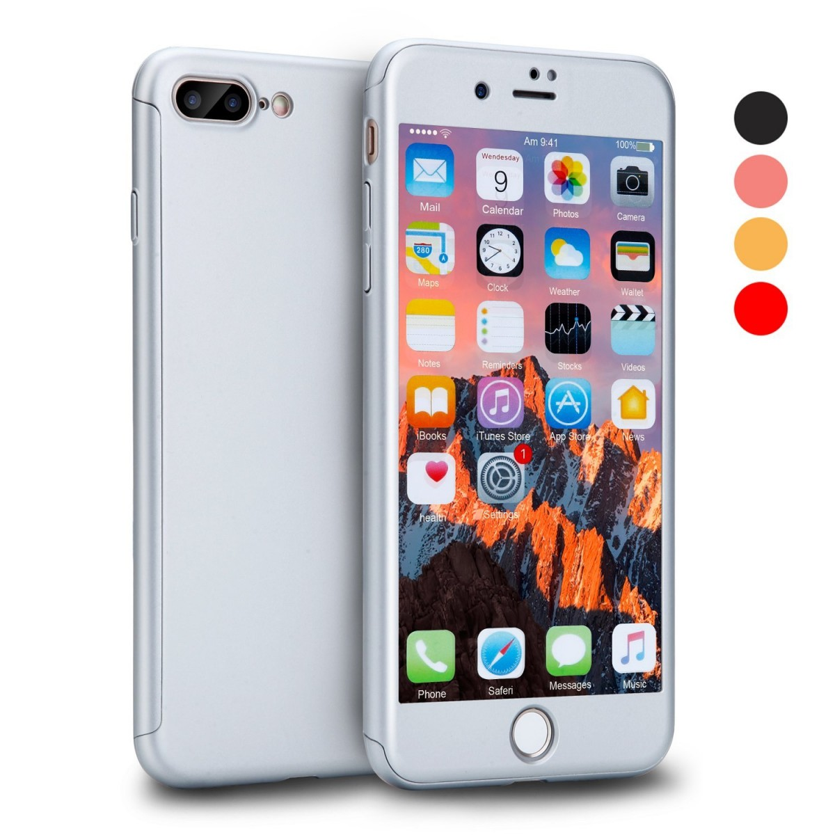 Kryt Defender 360° + Tvrzené sklo na displej Apple iPhone 8 Plus / 7 Plus - Stříbrný