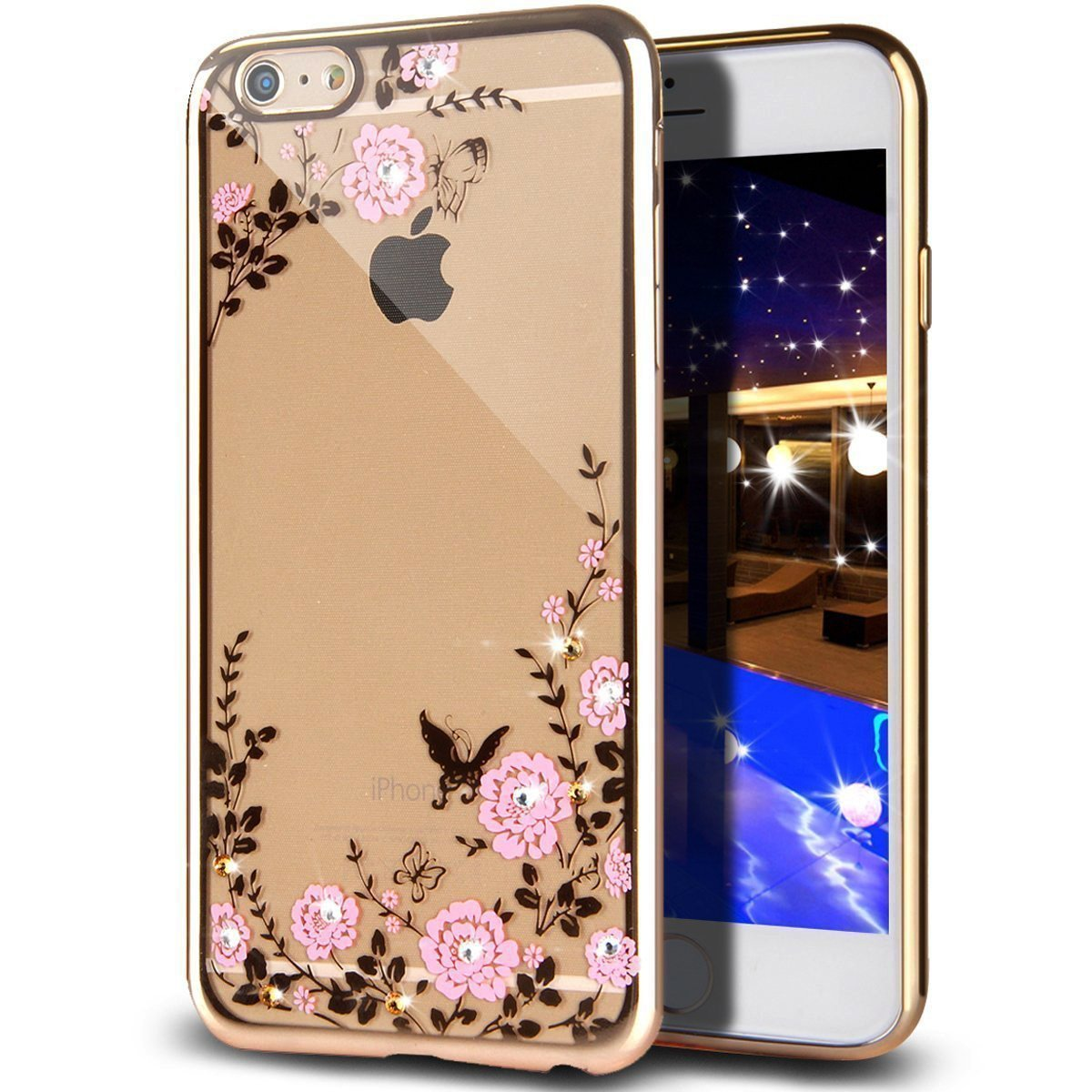 Obal / kryt Crystal Flowers pro iPhone 6s / 6 (gold)