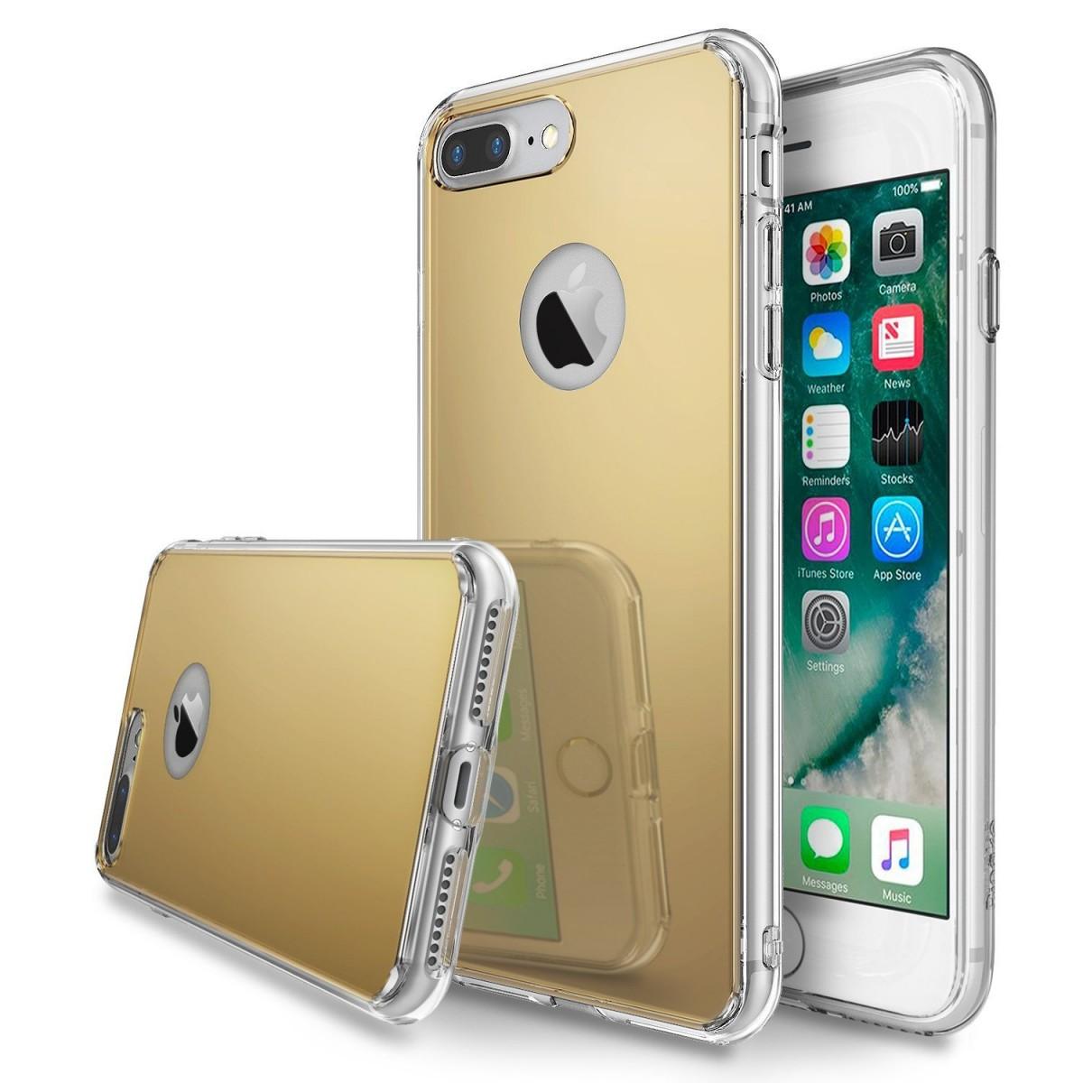 Zrcadlový kryt My Mirror pro iPhone 7 Plus - Zlatý (gold)