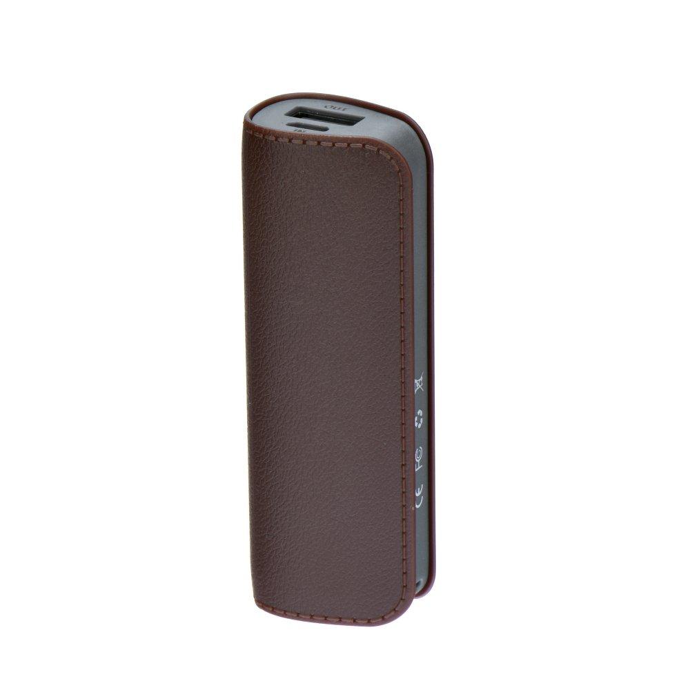 Elegantní kožená Power Banka / Externí baterie LEATHER DL511 2600mAh + Micro USB kabel - Hnědá