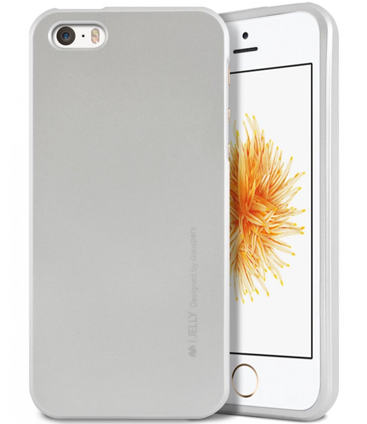 Silikonový obal / kryt iJelly Metal Goospery Mercury Apple iPhone SE / 5s / 5 - Metalicky stříbrný