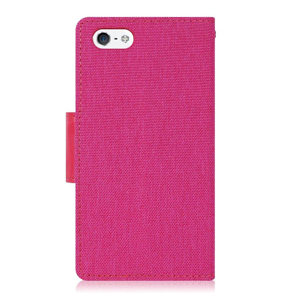 Pouzdro Kabura Canvas Book pro Apple iPhone SE / 5s / 5 - Růžové