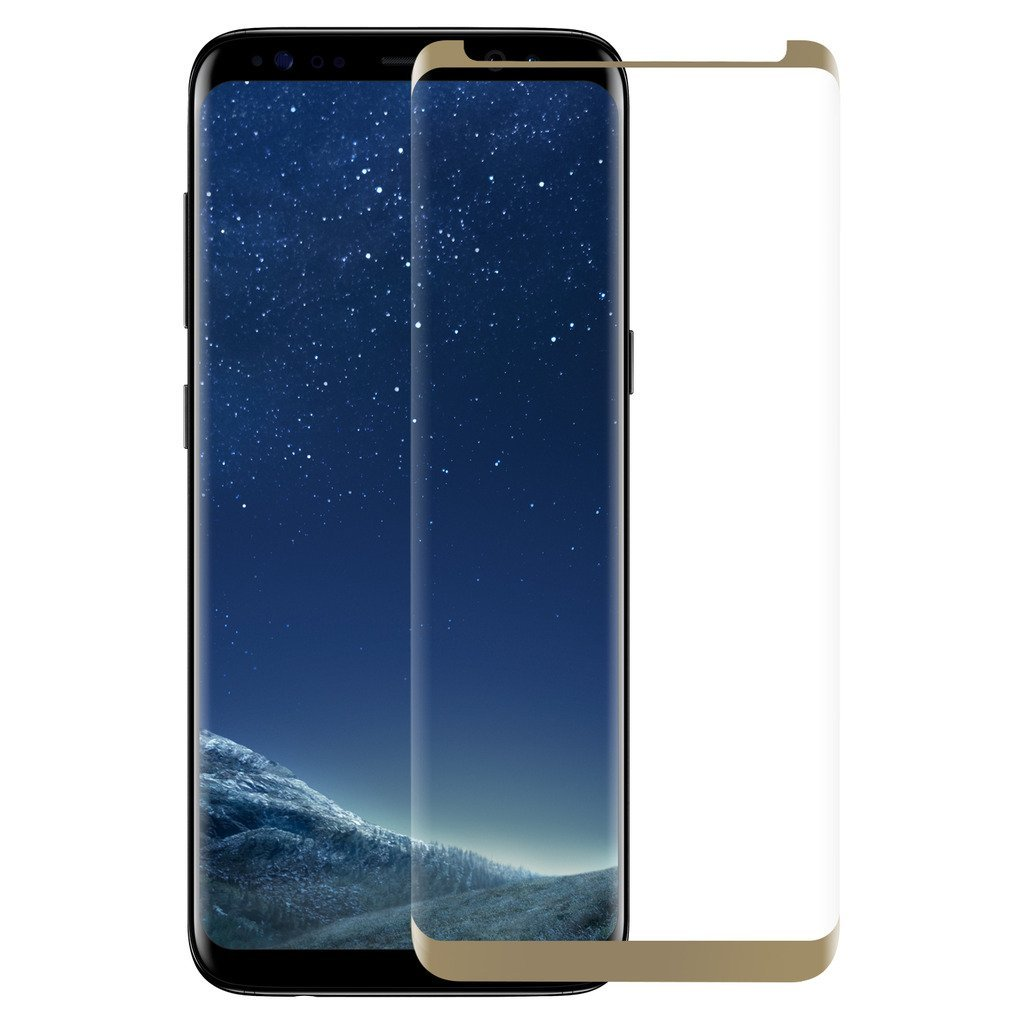 3D Ochranné sklo CASE FRIENDLY na celý displej pro Samsung Galaxy S8 - Zlaté / Gold