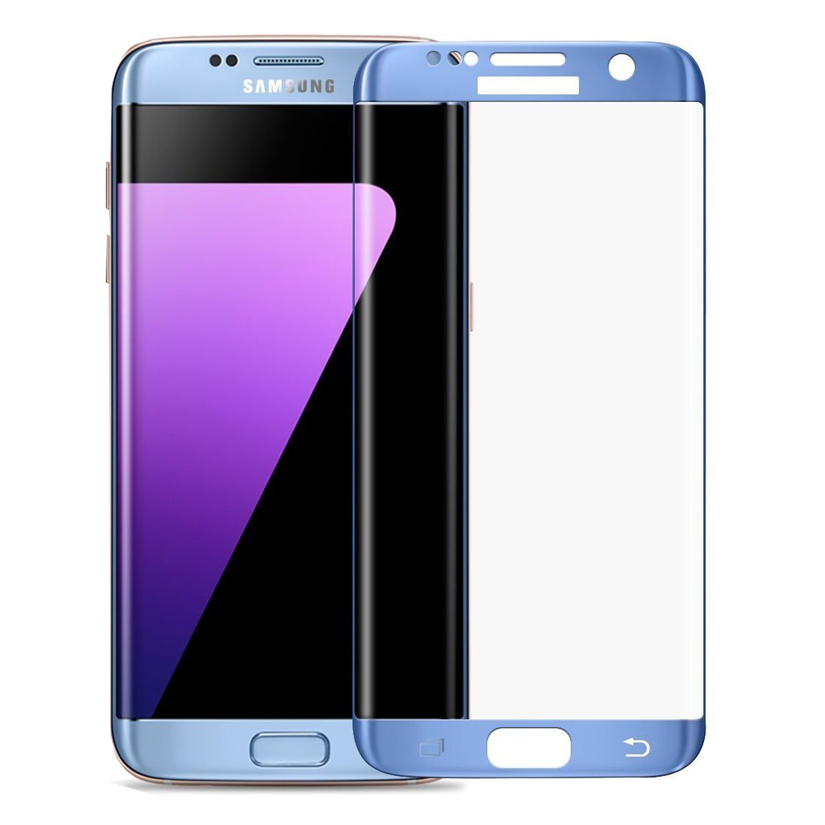 3D zakřivené tvrzené sklo 9H pro Samsung Galaxy S7 Edge - Modré (blue)