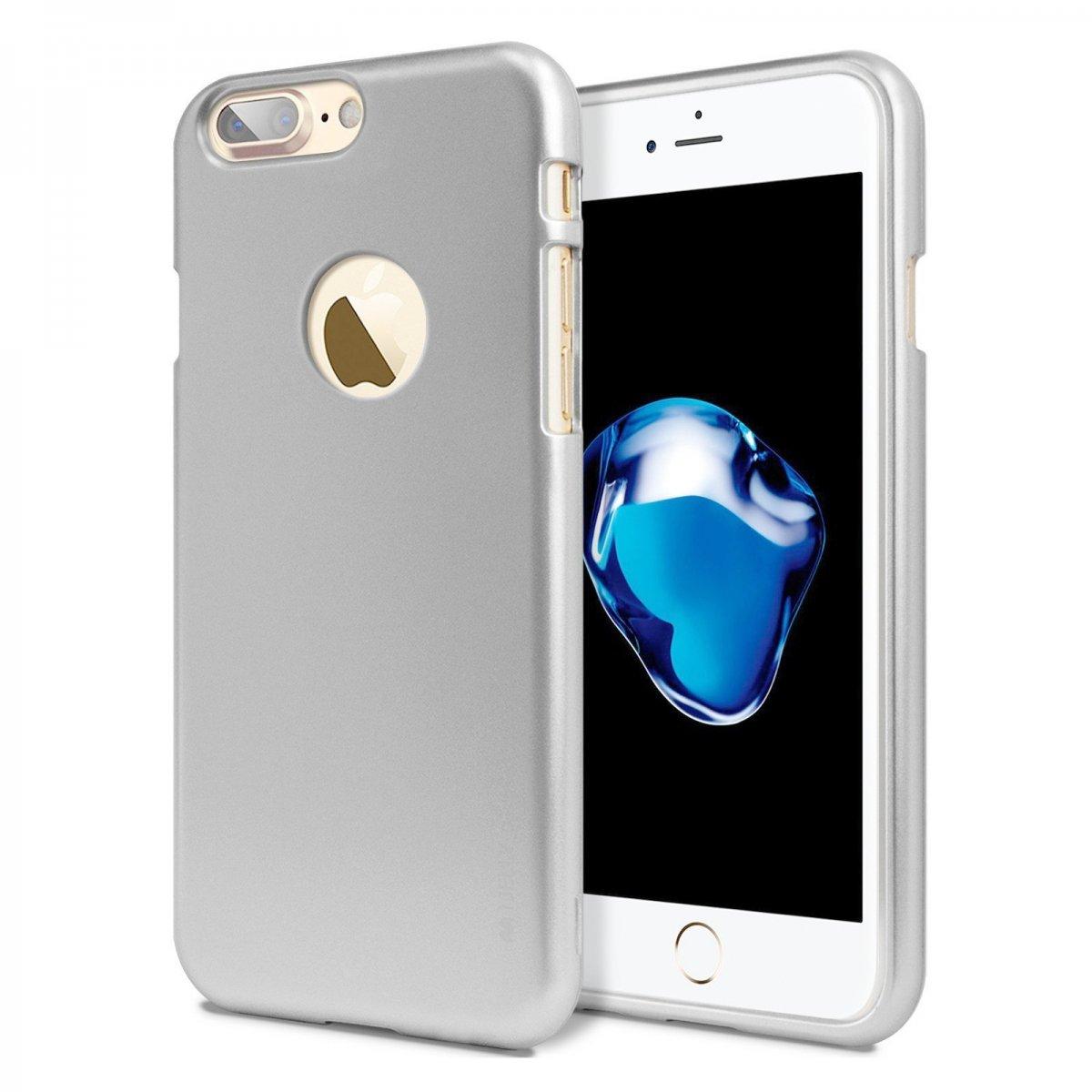 Silikonový obal / kryt iJelly Metal Goospery Mercury Apple iPhone 8 Plus / 7 Plus - Metalicky stříbrný