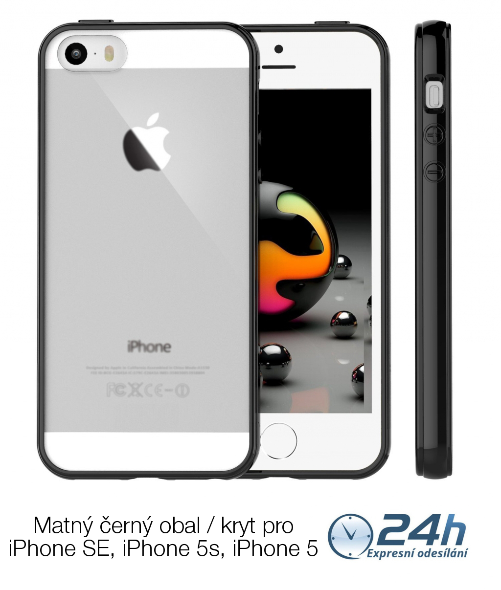 Černý matný obal / kryt na iPhone SE / 5s / 5