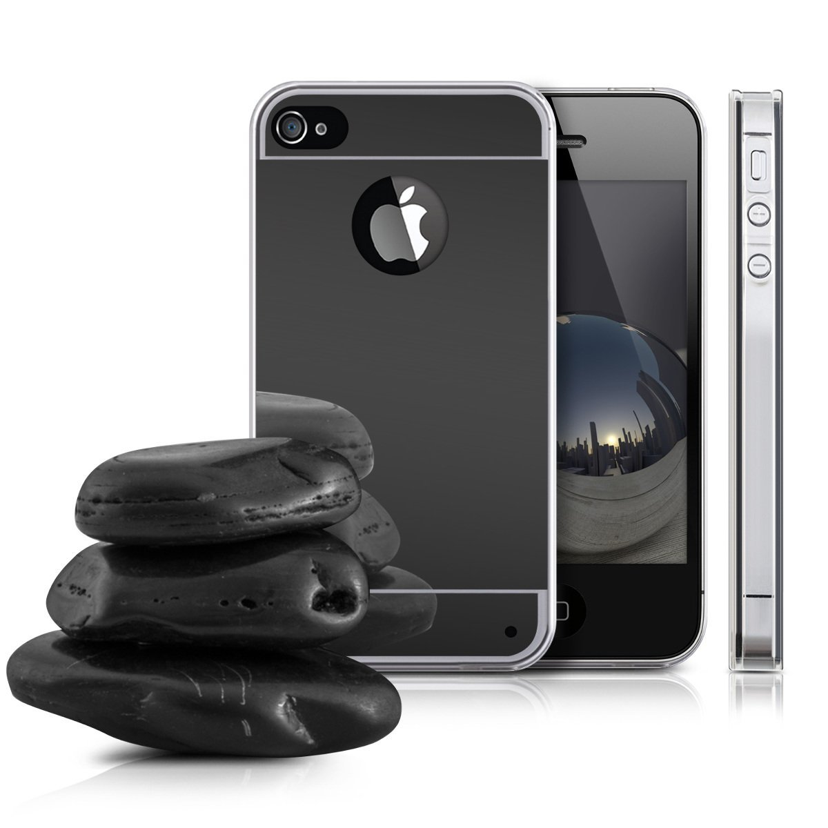Zrcadlový kryt My Mirror pro iPhone 4s / 4 - Černý (black)