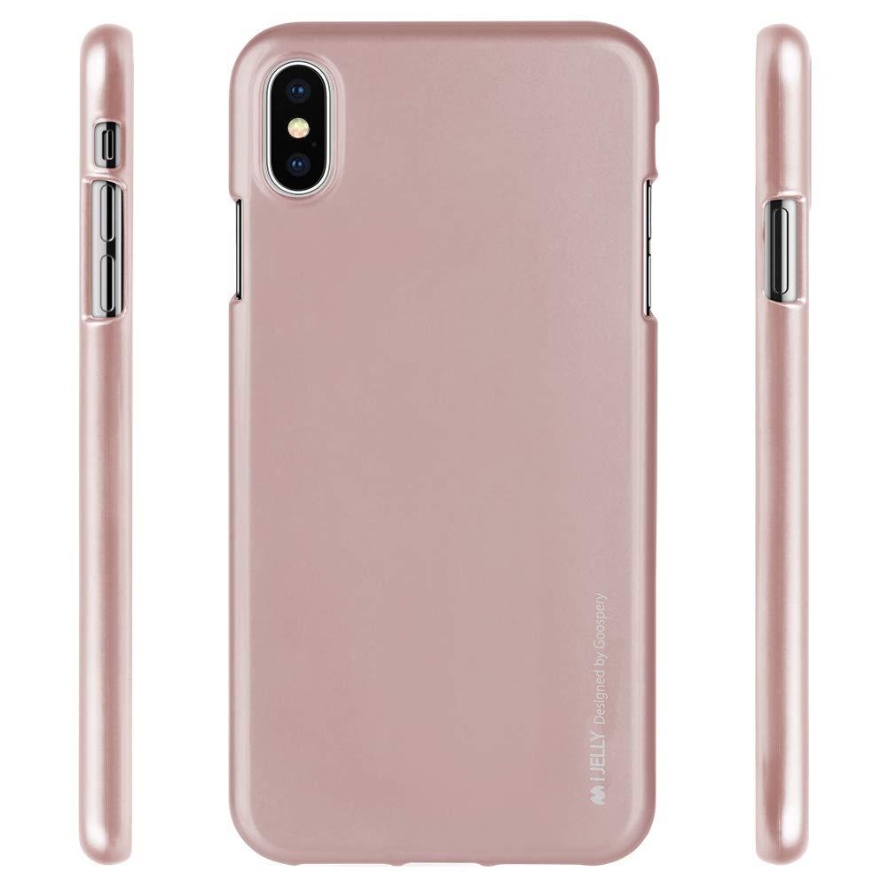 Pouzdro Goospery i-Jelly Metal iPhone XS MAX - Pískově růžové