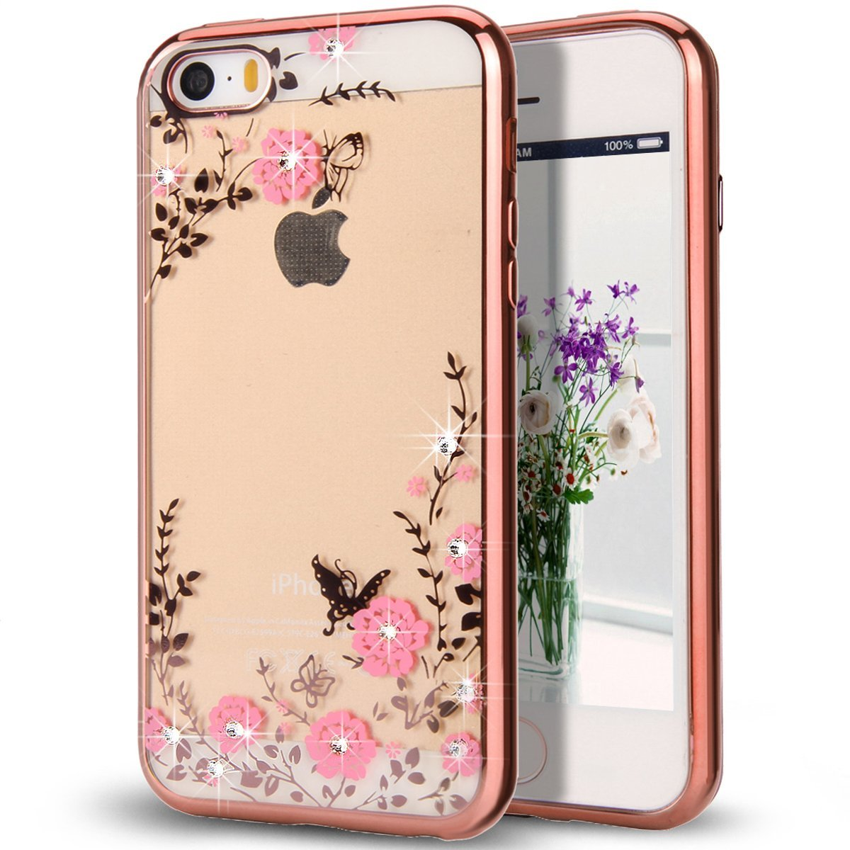 Pouzdro Crystal Flowers iPhone SE / 5s / 5 rose gold