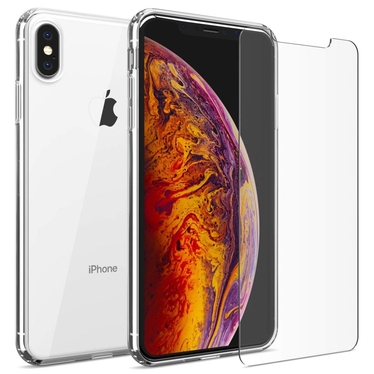 iMore SET: Čirý silikonový kryt a tvrzené sklo PRO+ 9H na iPhone Xs Max