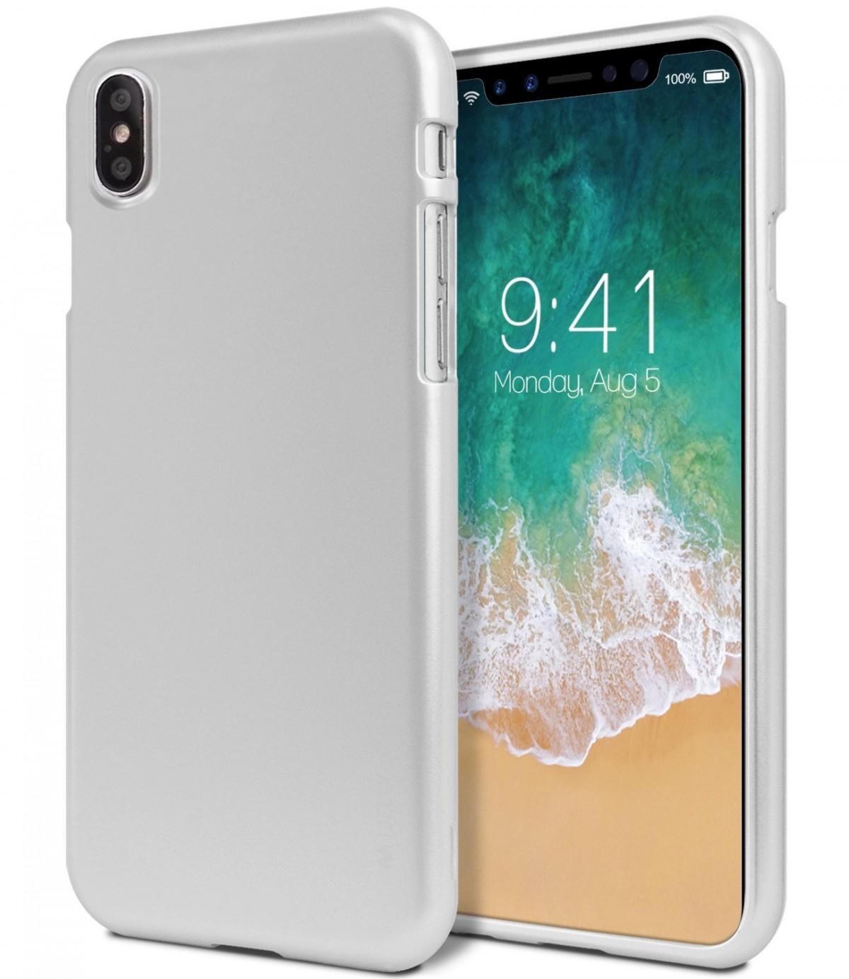 Pouzdro Goospery Mercury iJelly Metal na iPhone Xs/X - Stříbrný