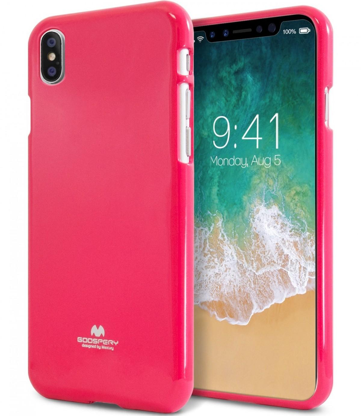 Pouzdro Goospery Mercury Jelly na Apple iPhone Xs/X - Tmavě růžový