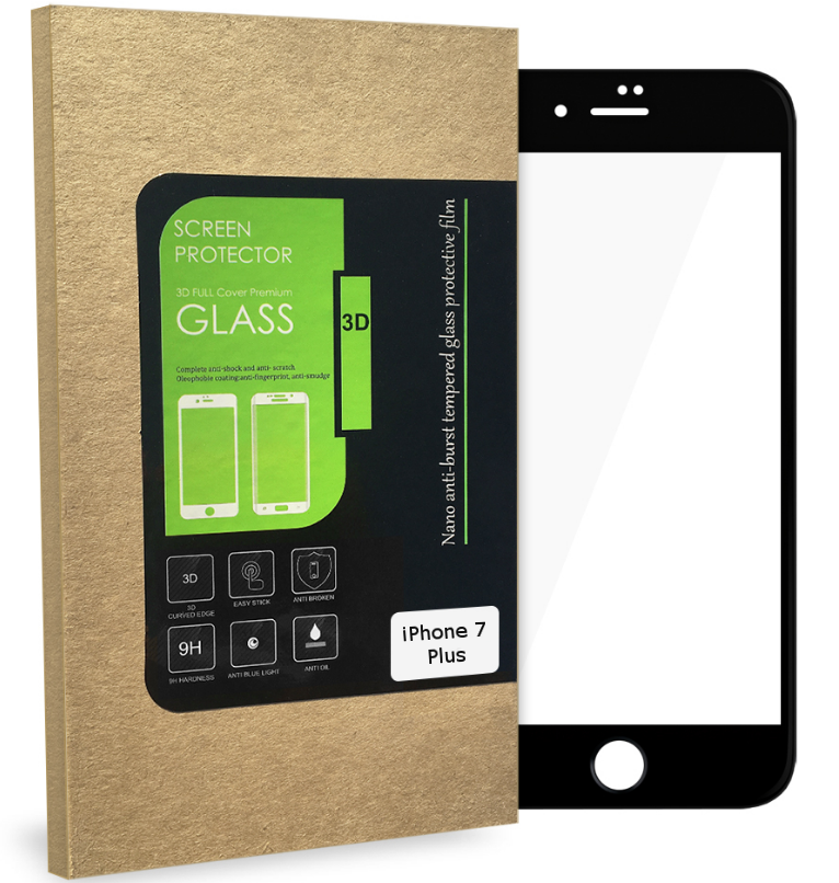3D Tvrzené sklo MagicGLASS na iPhone 7 Plus (černé)