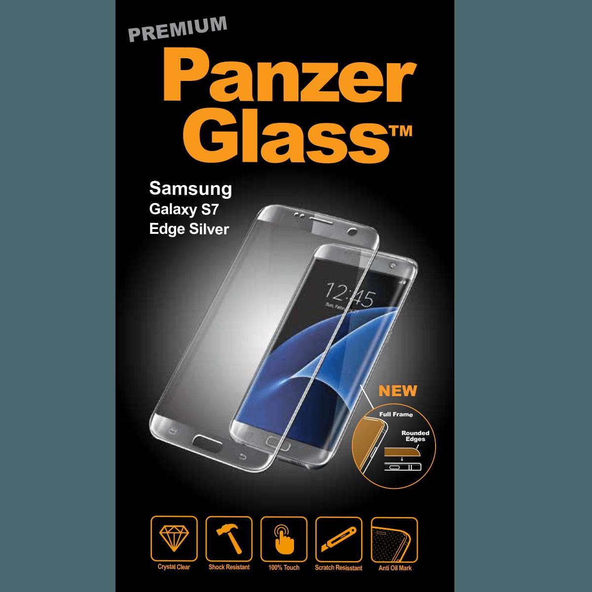 Ochranné sklo PanzerGlass PREMIUM Full Frame na Samsung Galaxy S7 Edge - STŘÍBRNÉ