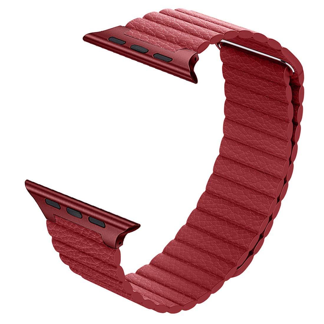 Řemínek Leather Loop na Apple Watch Series 3/2/1 (42mm) - Červený