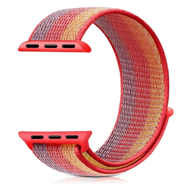 Řemínek NYLON STRIPES pro Apple Watch Series 4 (40mm) - Červený
