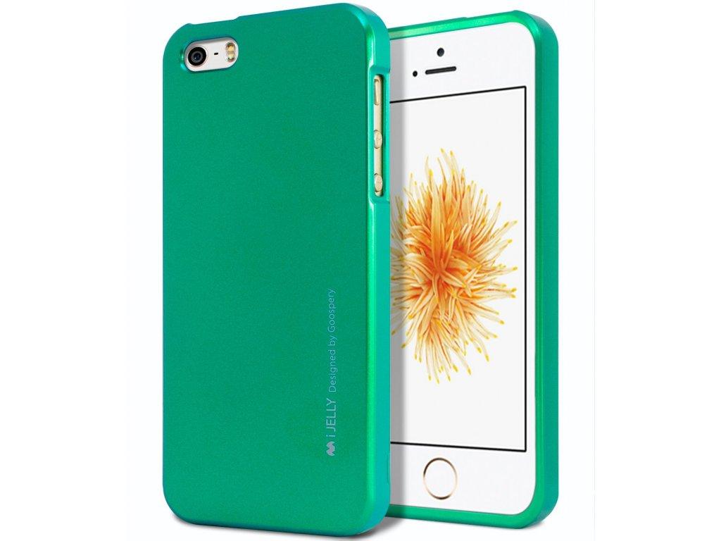 Silikonový obal / kryt iJelly Metal Goospery Mercury Apple iPhone SE / 5s / 5 - Metalicky zelený