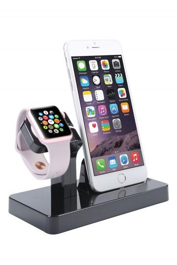 Dokovací stanice / stojánek BASIC 2v1 pro iPhone a Apple Watch, černá