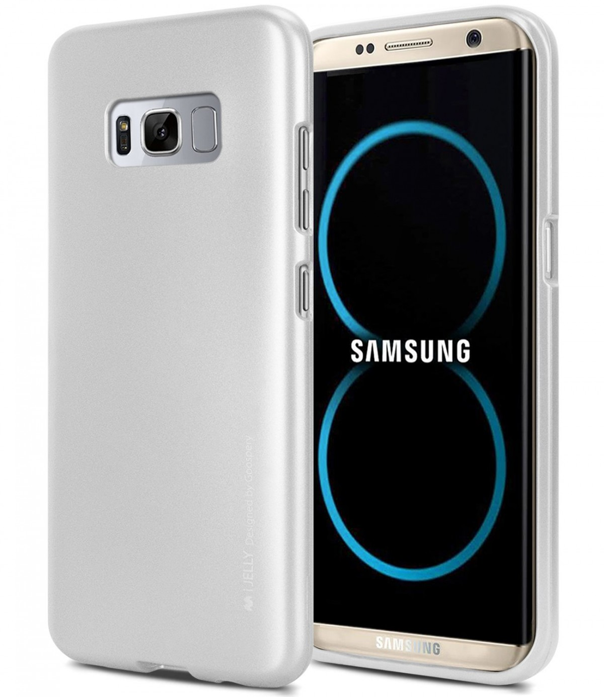 Pouzdro Mercury Goospery Ring 2 Jelly Samsung Galaxy S8 Plus stříbrné