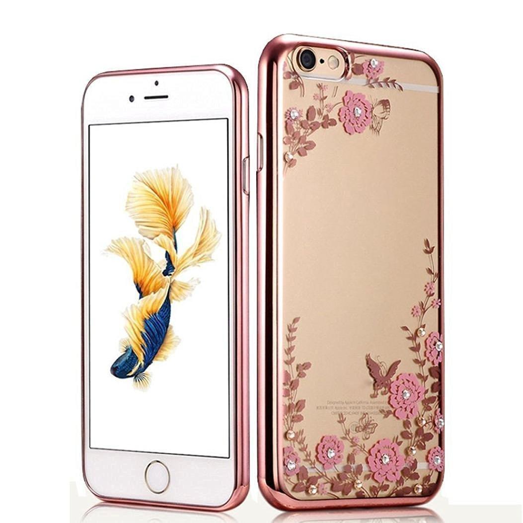 Obal / kryt Crystal Flowers pro iPhone 6s / 6 - Růžový