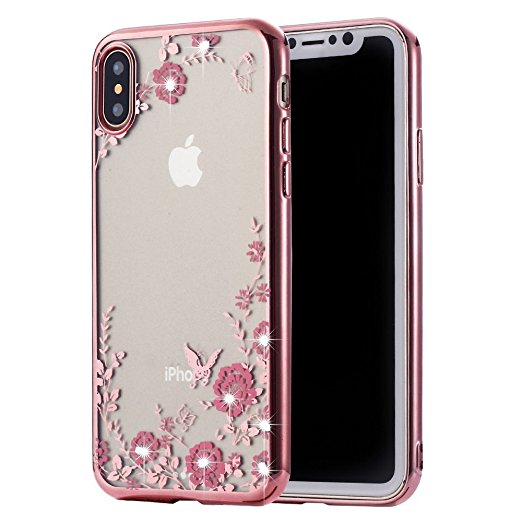 Obal / kryt Flower Garden pro Apple iPhone X - Zlatý (gold)