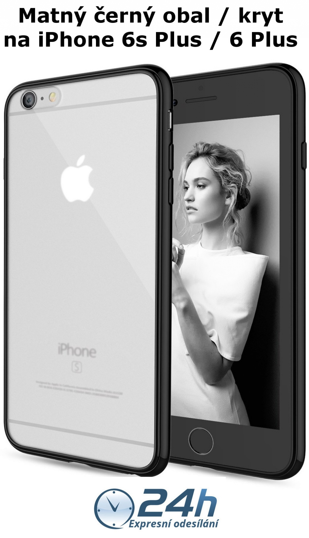 Černý matný kryt Shadow Hybrid na iPhone 6s Plus / 6 Plus
