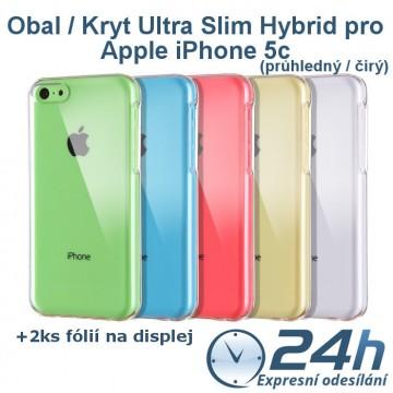 Průhledný kryt Ultra Slim Hybrid na iPhone 5c +2ks fólií