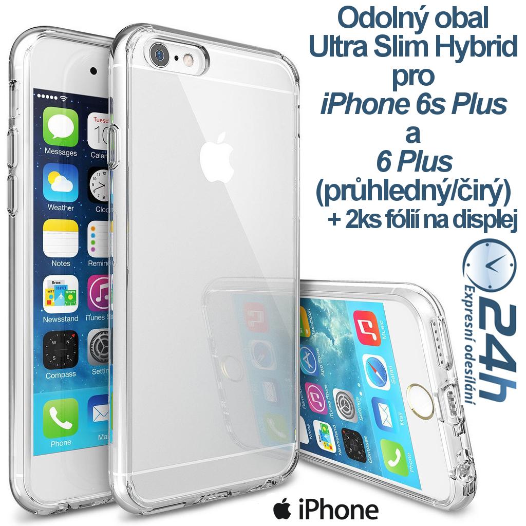 Průhledný kryt Ultra Slim Hybrid na iPhone 6s/6 Plus +2ks fólií