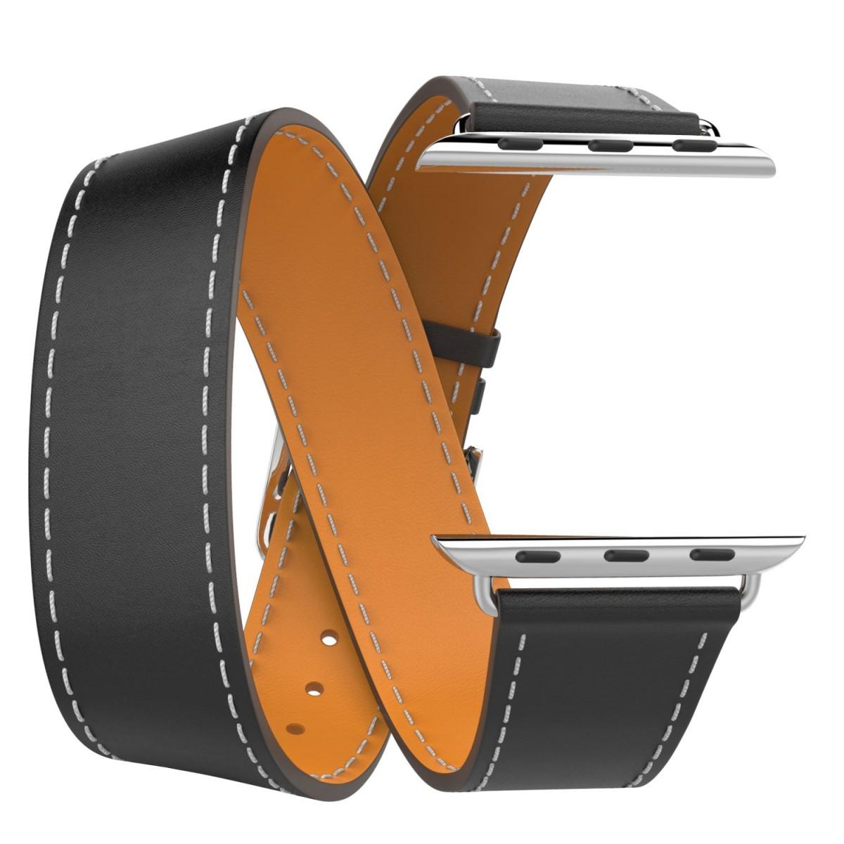 Řemínek Double Tour pro Apple Watch Series 3/2/1 (42mm) - Černý