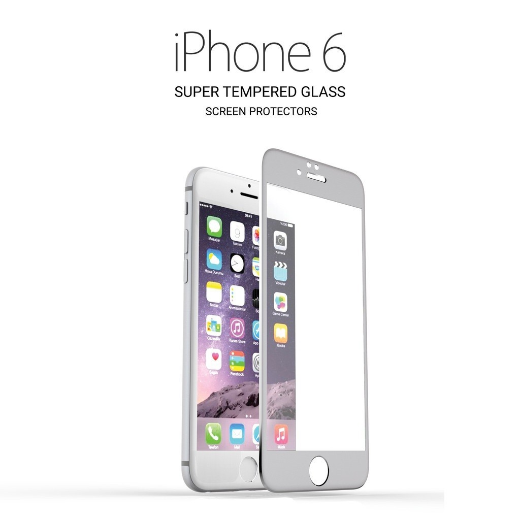 3D Tvrzené sklo Titanium pro iPhone 6s/6 - Stříbrné