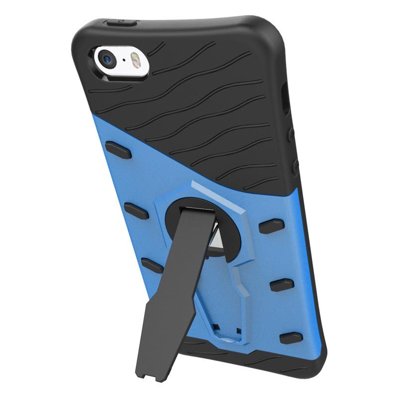 Velmi odolný kryt SNIPER se stojánkem pro Apple iPhone SE / 5s / 5 - Modrý