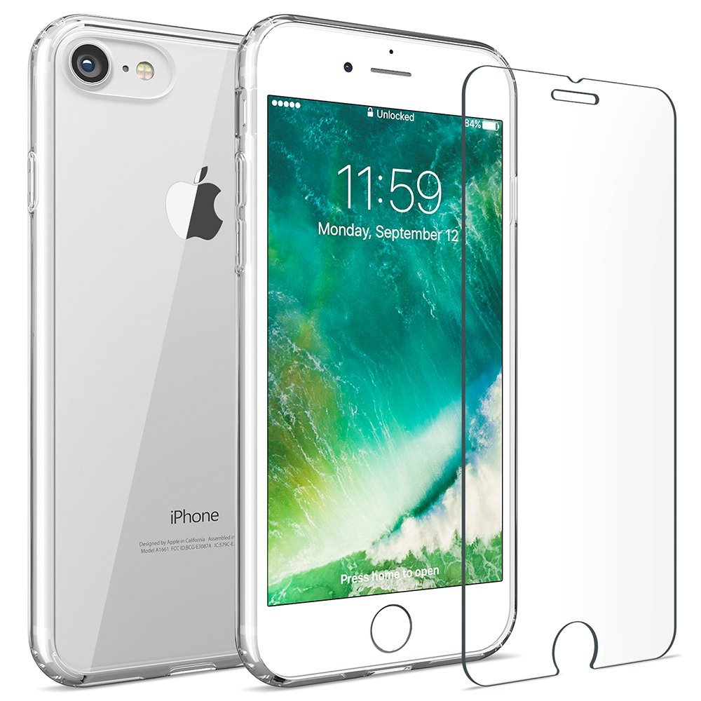 iMore SET: Čirý silikonový TPU obal + tvrzené sklo 9H na iPhone 8 / 7