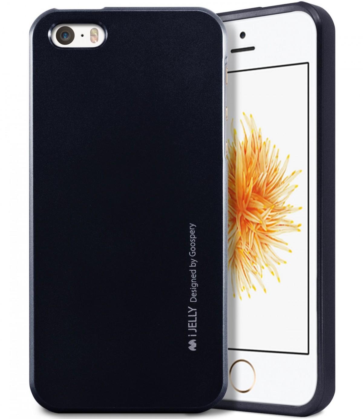 Silikonový obal / kryt iJelly od Goospery Mercury pro Apple iPhone SE / 5s / 5 - Metalicky černý