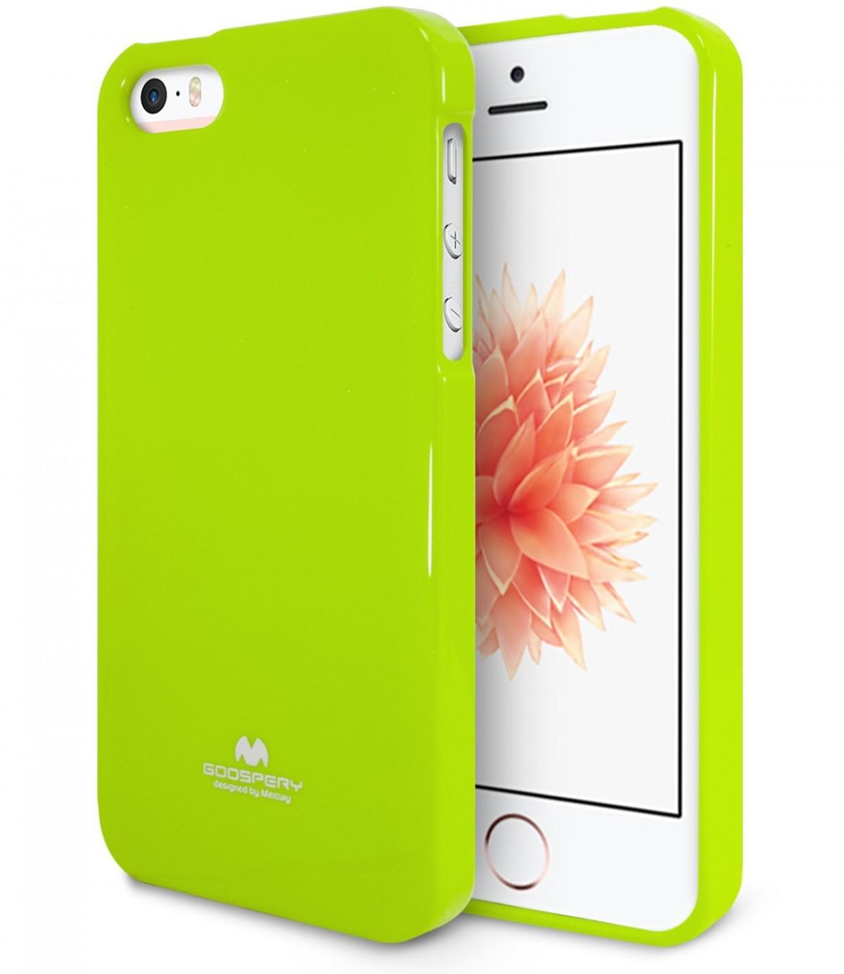 Pouzdro Goospery Mercury Jelly Case Apple iPhone SE / 5s / 5 - Limetkové