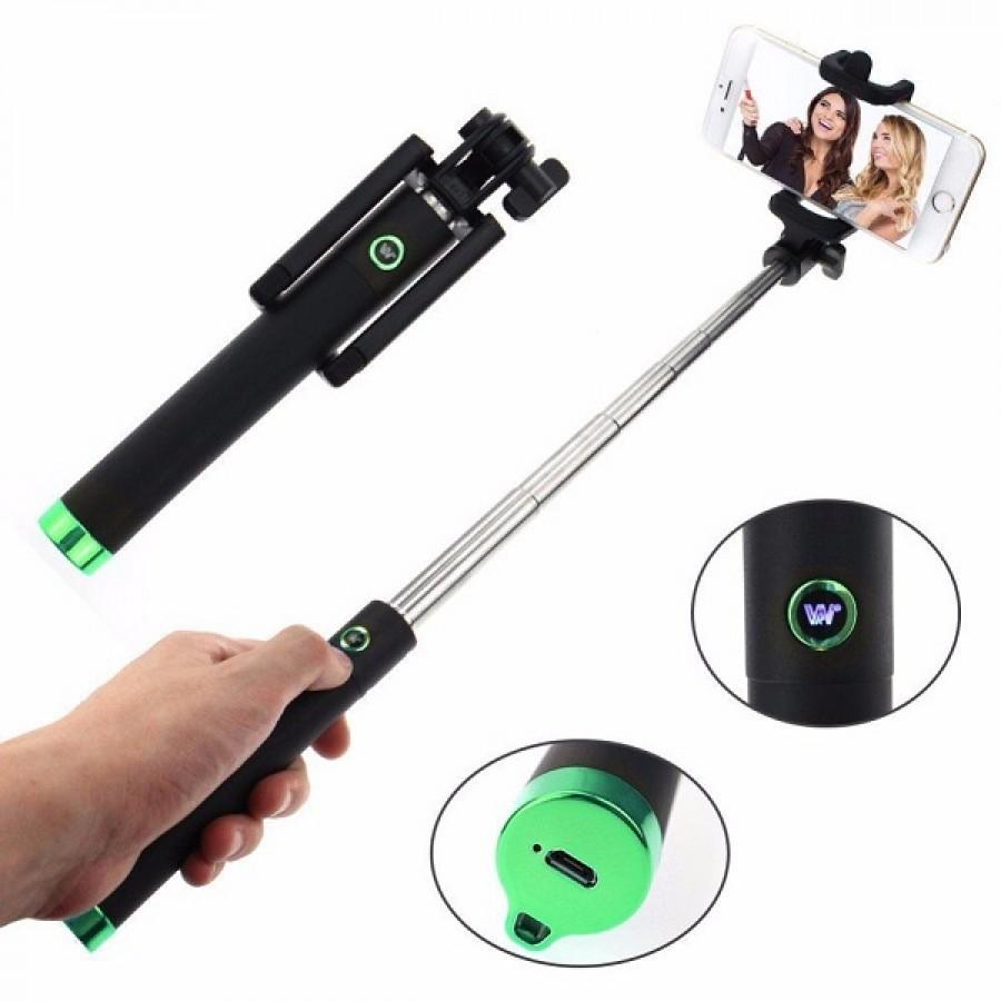 Teleskopická selfie tyč Locust s Bluetooth 80cm - Zelená