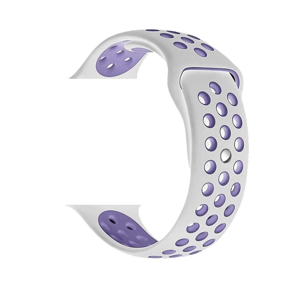Řemínek SPORT pro Apple Watch Series 3/2/1 42mm - Bílý/Šeříkový