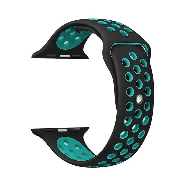 Řemínek SPORT pro Apple Watch Series 3/2/1 42mm - Černý/Tyrkysově modrý