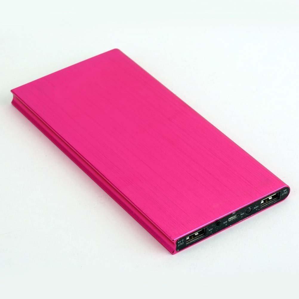 Externí baterie POWER BANK 20 000mAh, 3x USB, LED - Tmavě růžová