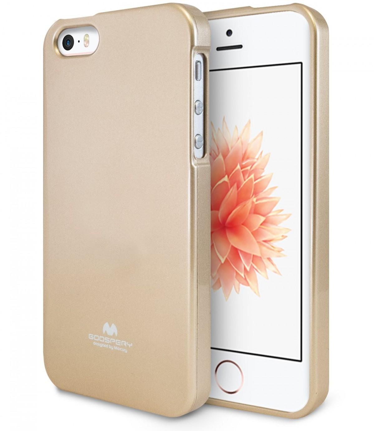 Silikonové obaly / kryty Goospery Mercury pro Apple iPhone SE / 5s / 5c / 5 - iJelly Metal - Zlatý / Gold