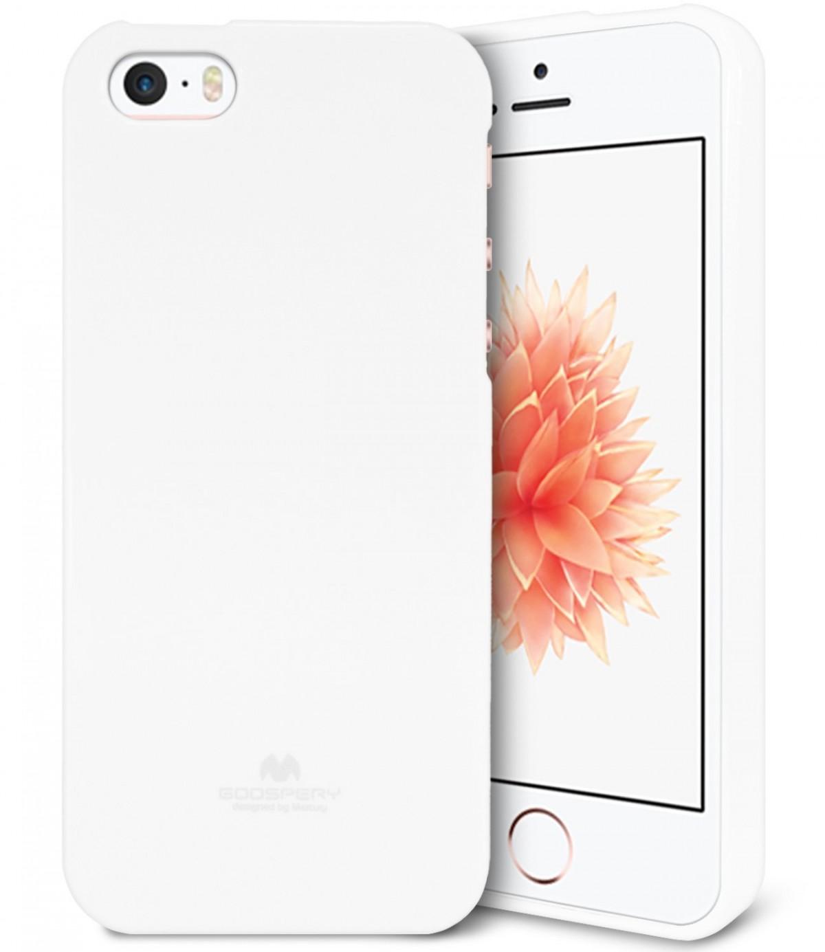 Silikonové obaly / kryty Goospery Mercury pro Apple iPhone SE / 5s / 5c / 5 - Bílý / Jet White